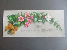 Antique NEW YEAR Card H Rothe 174 Floral Spray Ferns Victorian Chromo Litho