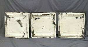 "Lot Of 3 Metal Tin Ceiling  2' x 2' Shabby VTG 24"" SQ Chic VTG Crafts 1139-20B"