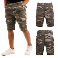 MENS ARMY CARGO SHORTS COMBAT CASUAL CAMOUFLAGE  WORK COTTON CHINO HALF PANT