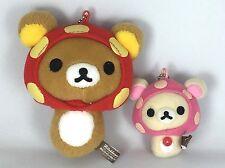 Rilakkuma & Korilakkuma Relax Bear Plush Doll 2 PCS Mushroom San-x Japan Import