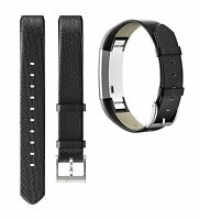 Leather Adjustable Replacement Sport Strap Bands Wrist Black for Fitbit Alta HR