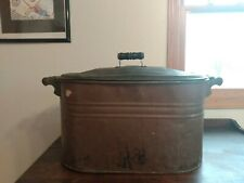Antique 1890s Copper Boiler Wash Tub with Lid & Wooden Handles