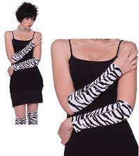 80's Punk Rock Zebra Stripe Zipper Arm Sleeves Adult Unisex Costume Access  B206