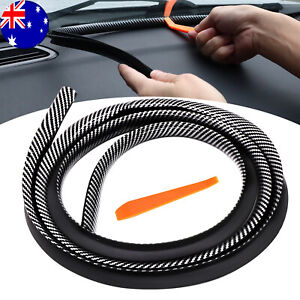 1.6M Car Dashboard Gap Filling Sealing Strip Carbon Fiber Rubber Stick w/ Tool