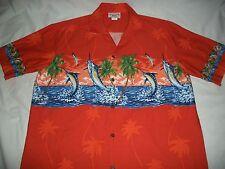 Pacific Legend Sword Fish Men's Hawaiian Aloha Button Camp Shirt Large Orange