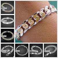 Wholesale Jewelry Boy/mens 925Solid Silver Chain Bracelet Necklace Set Gift +box