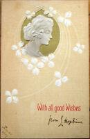 1909 Art Nouveau Postcard: Heavily-Embossed Woman & Clovers