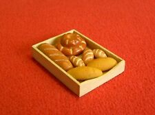 Dolls House Miniature Wooden Tray of Mixed Breads