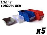 5 x  Size 3 Red STORAGE SMALL PARTS BINS boxes Workshop Garage 190 x 105 x 70mm