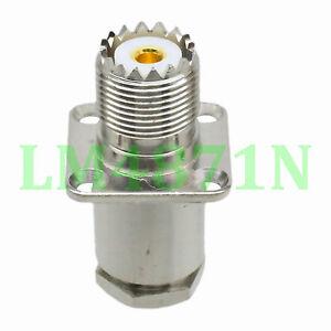 1x Connector SO239 UHF female 4-hole 25mm flange clamp RG214/213 LMR400 RG8