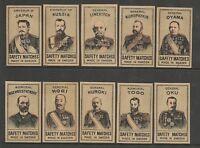 Russia-Japanese War WAR GENERALS Set 10 Matchbox Labels Issued 1905