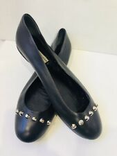 BALENCIAGA black lambskin leather studded ballet flats 38 shoes 8