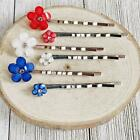 Red White & Blue Flower Hair Pins, Womens Fourth of July Hair Clips, Patriotic 4