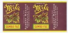 McE Gumbo File, vintage can label, Albert Mackie co. New Orleans LA