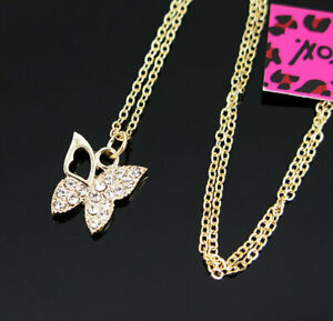 New Pendant Fashion Betsey Johnson Rhinestone butterfly Gold Necklace Women Gift