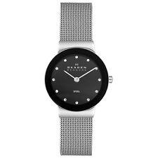Skagen 358 SSSBD de cristal señoras Esfera Negra Delgada Reloj con banda de Malla de acento Totalmente Nuevo