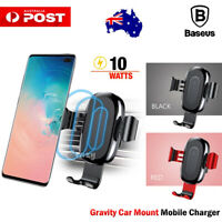 Samsung Galaxy S10 S9 Plus Baseus Qi Wireless Charger Car Air Vent Mount Holder
