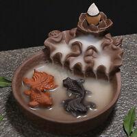 Fish Porcelain Backflow Ceramic Incense Burner Holder Cone Buddhist Cones 2019