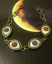 Bronze tone multi evil eye red + blue charm bracelet vintage goth kitsch