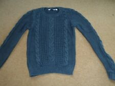 Girls navy blue washed look new look jumper 10-11 years