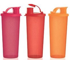 Three Tupperware Be Dazzled Tumblers & Pour Seals in Orange, Red & Chili New