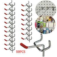 50Pcs 55mm Metal Pegboard Hooks Garage Kit Storage Organizer Retail Display Tool