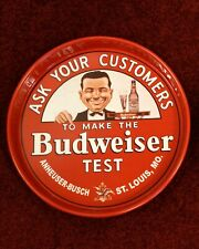 "BUDWEISER SMILING CHARLIE ASK YOUR CUSTOMERS ""TEST"" BEER TRAY ANHEUSER-BUSCH BUD"