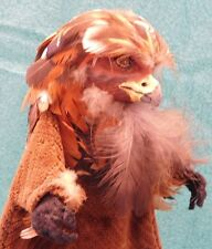 Vintage EAGLE Hand Puppet on Stand Handmade Feathers Unique Great Face Western