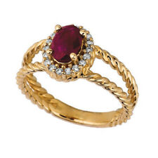 1.05 Carat Natural Ruby & Diamond Oval Ring 14K Yellow Gold