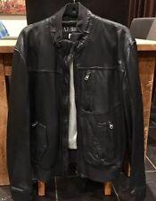 Nero Vera Pelle Armani Jeans Bomber ** RRP £ 1200 *** TAGLIA 54 ITALIA