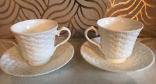 Beautiful Pair Of Aynsley Belleek Basket Weave Pattern Bone China Cups & Saucers