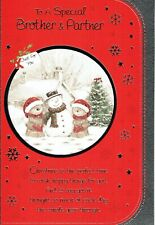Special BROTHER AND PARTNER Quality CHRISTMAS Card Bears ad Snowman  Design