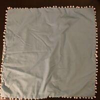 Antik Batik Turquoise Blue White Pom Trim Euro Pillow Sham 24x24