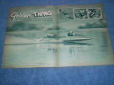 "1962 Hallet Hull Vintage Drag Boat Article ""Golden Thing"" Blown Chrysler"