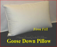 GOOSE DOWN STANDARD FIRM PILLOW  HOTEL DELUXE QUALITY 100% COTTON COVER