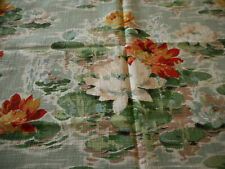Antique Vtg. Waterlily Floral Barkcloth Cotton Fabric ~ Aqua Orange Red Green #1