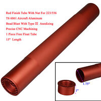 """15"""" Super Long Free Float Tube Handguard Anodized Red For 223 Knurled US Seller"""