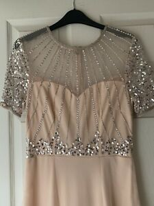 Brand New Ladies Size 8 Dress Peach Pink Beaded Bridemaid Prom Party Sleeves