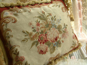 "20"" Beautiful VTG Victorian Burgandy Beige Rose Needlepoint Petit Point Pillow"