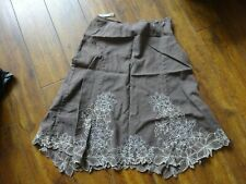 Ladies Next Skirt Linen Mix Brown Floral Embroidered Size 10