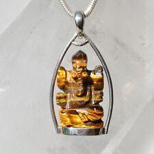 Tigerauge Anhänger, 925er Silber, Edelsteinanhänger (10981), Ganesha