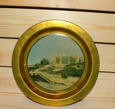 Vintage litho tin dish landscape