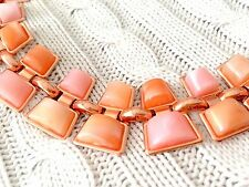 Rose Gold and Orange Agate Costume Jewelry Necklace