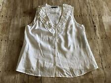 NEW Jones New York Women's Size 2X White Linen Sleeveles Ruffle Neck Blouse $69