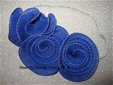 Huge Blue Silver Gatsby Fascinator Hair Piece Head Band Choochie Choo 1920's
