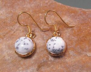 Sterling silver with 18k gold plate 9mm dendritic agate earrings. Gift bag.