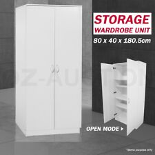 Wooden 2 Doors Wardrobe Cabinet Unit Bedroom Clothe Storage Clothes Organizer