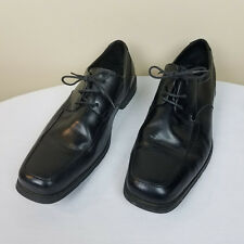 MENS 11 MEDIUM BLACK LEATHER DRESS OXFORDS SHOES LACE NUNN BUSH Preowned