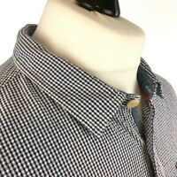 Fat Face Mens Shirt XX Large Casual Long Sleeve Button Cuff Blue White Gingham