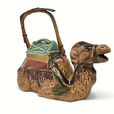Ceramic Sitting Camel Tea Pot with Lid Made in Japan bamboo handle Vintage